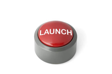 Red circular push button labeled Launch isolated on white background 스톡 콘텐츠
