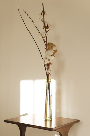 Cylindrical Glass Vase With Blooms On A Wooden Side Table Sunlight