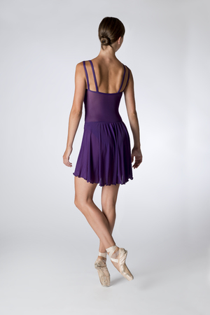 View of the back of a ballerina wearing purple leotards Stock Photo