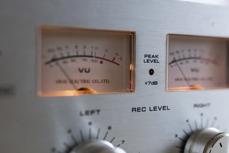 Close up of VU meters in a vintage stereo equipment Banco de Imagens