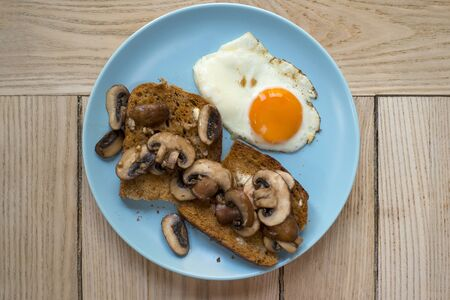 Mushrooms on toasts and an egg on a blue plate overhead