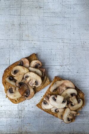 Mushrooms on toast servings on worn stainless steel background overhead view with copy space