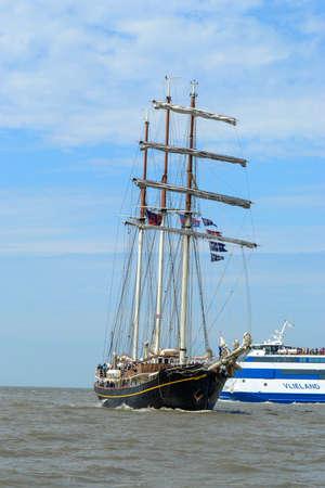 Tall Ship Gulden Leeuw enters Harlingen