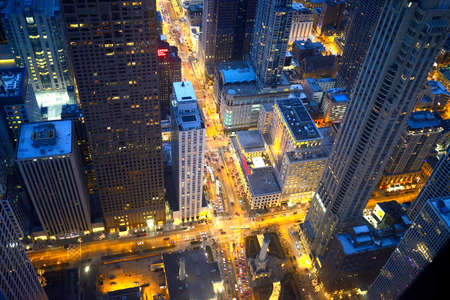intersection: Chicago intersection at night Editorial