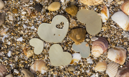 Five small metallic heart shapes are placed in shallow water with seashells and sand.
