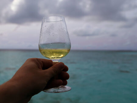 A glass of cold white wine is held against the horizon of an ocean with cloudy sky.
