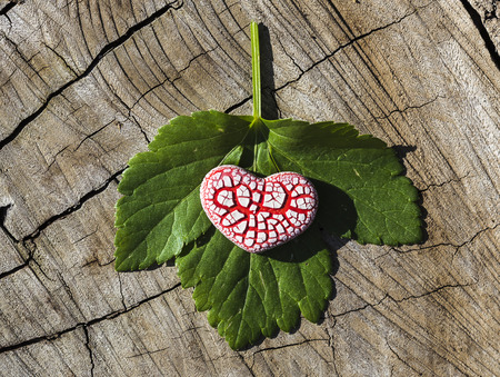 A red ceramic speckled heart with a small heart inside it is placed on a green leaf on a flat wooden surface.