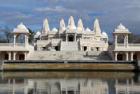 dome of hindu temple: Mandir Hindu Shrine with reflection Stock Photo