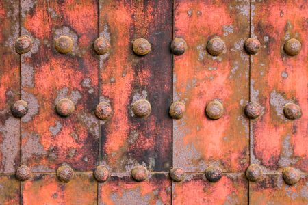 fortified: Iron fortified plate abstract background with iron knobs Stock Photo