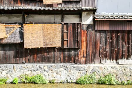 traditional house: Traditional Japanese wooden house exterior with water channel