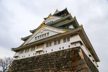 overcast: Osaka castle, Japan. Rainy overcast sky. Editorial