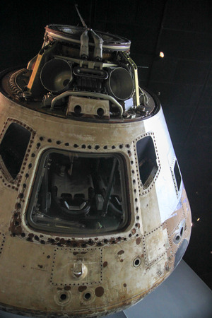 Space vehicle reentry capsule white on black. Stock Photo