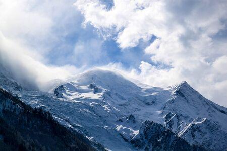 blanc: The Mount Blanc in Chamonix, France. Stock Photo