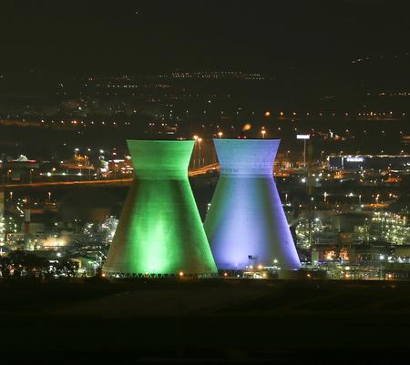 Haifa Bazan Refinery in the night.
