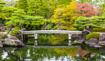 ponds: Zen garden pond with bridge and carp fish in Japan.