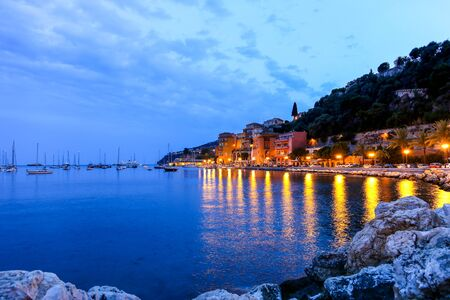 cote d'azur: Evening view of Villefranche sur mer in the French Riviera Stock Photo