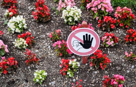 tresspass: No tresspassing no stepping on flowers sign.