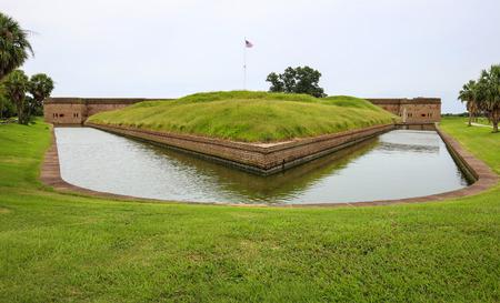 Fort Pulaski, Georgia. Outside moat area with grass.