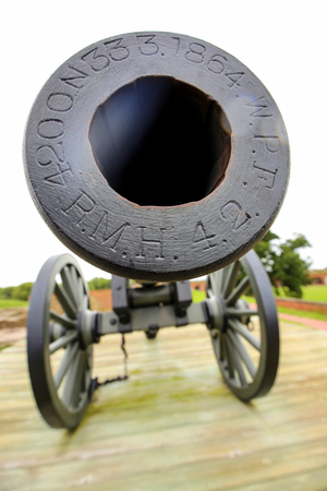 Old war cannon closeup in Fort Pulaski, Georgia.