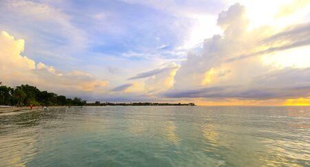 Carribean sea sunset on the beach.
