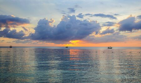 Sea Sunset on an ocean beach in the Carribean.