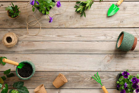 Gardening tools, flowers, plants and soil on vintage wooden table. Spring in the garden concept background with copy space for your text. Banco de Imagens