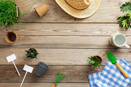 Gardening tools, flowers in pot, grass, and straw hat on vintage wooden background. Spring garden works concept. Flat lay composition with copy space for text captured from above.