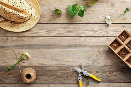 Frame of gardening tools and flowers on vintage wooden table. Gardening or planting concept. Working in the spring garden. Flat lay, top view, overhead.