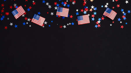 Happy Independence Day USA banner template. Frame border of blue red white confetti and American flags on dark background. 4th of July celebration concept.