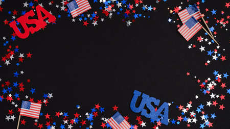 4th of July Independence Day banner mockup. Frame of blue red white confetti, sign USA and American flags on dark background.