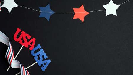 阵亡将士纪念日或4月4日背景与美国国旗颜色装饰。美国国民假日概念