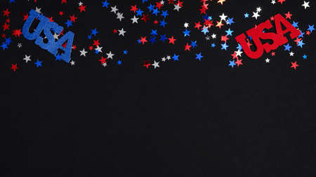 Frame border blue red white confetti and USA decorations on dark background. Happy Independence DAY USA, 4t of July celebration concept.