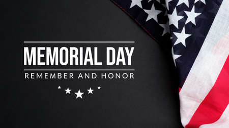 Memorial Day USA greeting card. Remember and Honor with American flag