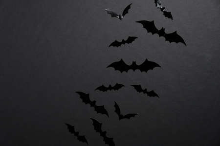 Bats silhouettes on black background. Happy Halloween holiday concept Stock Photo