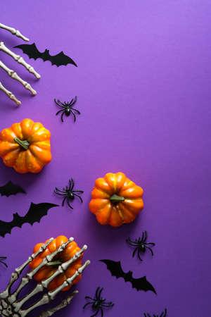 Flat lay Halloween decorations, pumpkins, bats, spiders on purple background. Happy halloween holiday concept. Standard-Bild