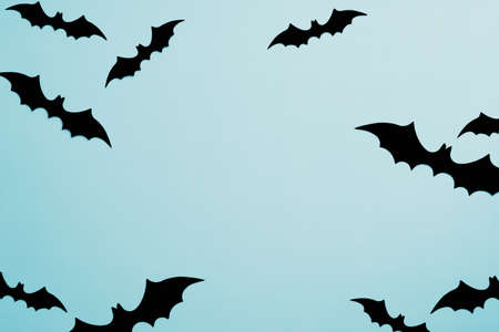Minimal Halloween flat lay style composition with bats on blue background. Top view, view from above.