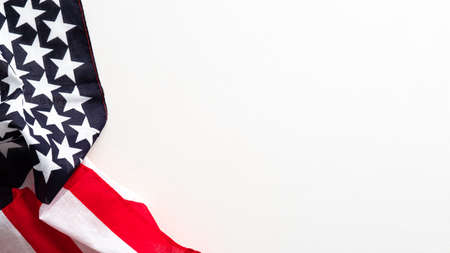 Happy Columbus Day banner design. USA flag isolated on white background. Standard-Bild