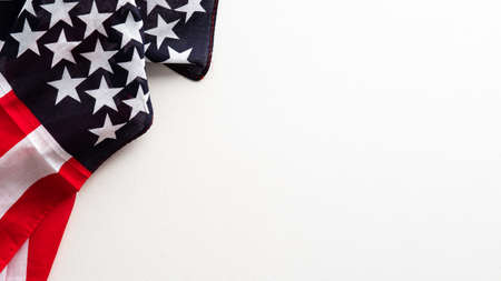 Happy Veterans Day banner design. Flag of USA isolated on white background.