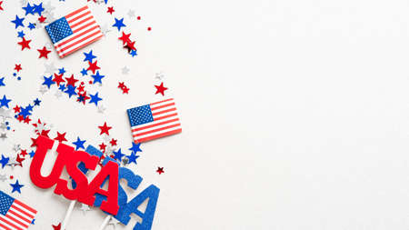 Happy Veterans Day banner mockup. USA decorations, confetti, flags isolated on white background.