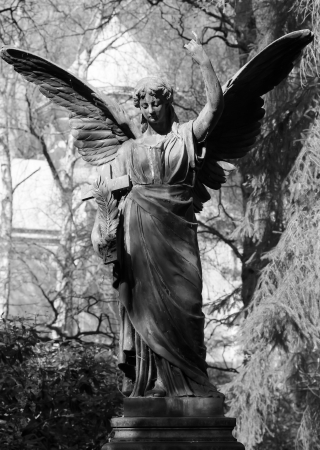 cemeteries: Old Angel statue in BW