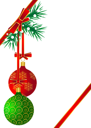 balls decorated: Red and green balls decorated with golden patterns hang on the Christmas tree