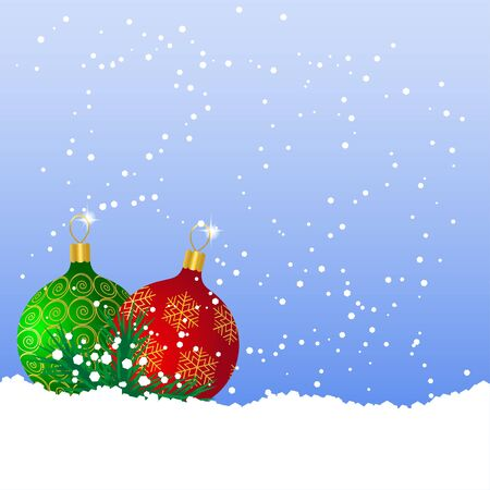 Green and red Christmas balls on the snow