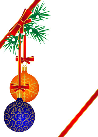 balls decorated: Orange and blue balls decorated with golden patterns hang on the Christmas tree Illustration