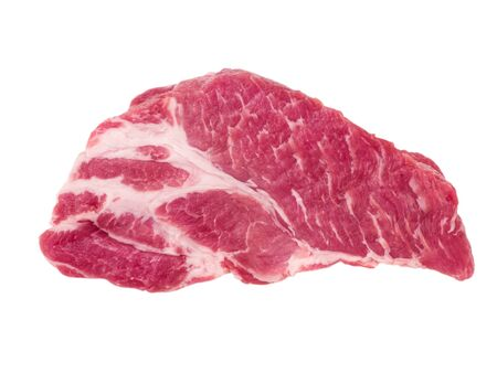 Slice of boneless pork neck  isolated on wh