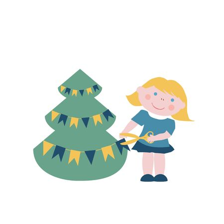 decorates: Little girl decorates Christmas tree with flags garland Illustration