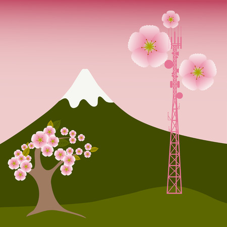 mast cells: Mobile tower blooms with sacura flowers