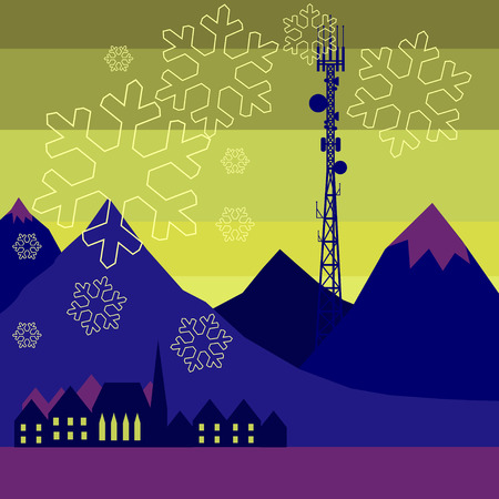 telephone mast: Mobile tower transmits snowflakes into the northern city