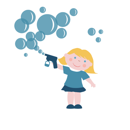 girl with gun: Little girl with soap bubbles gun