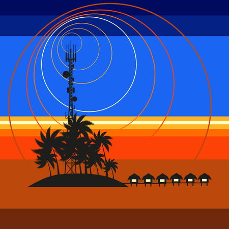 radio beams: Mobile tower transmits sunset from Maldives Illustration