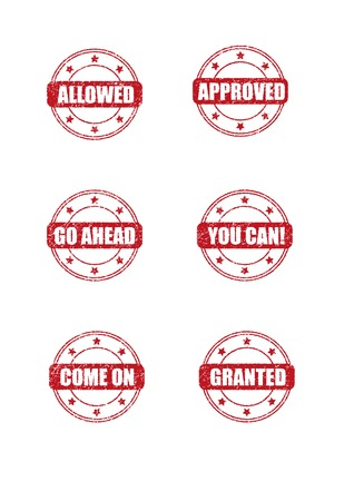 granted: Six round stamp marks